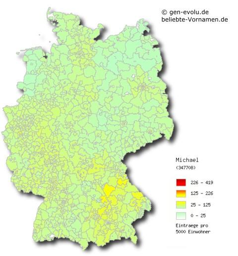 regionale Verteilung Erwachsenenname Michael